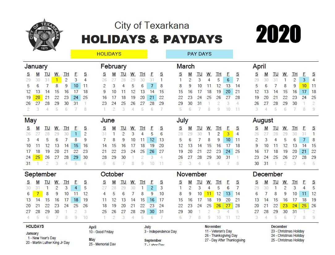 2020 Holiday / Pay Day Calendar